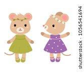 cute mouses. vector flat... | Shutterstock .eps vector #1056541694
