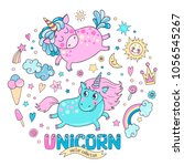 cute magic collection with two...   Shutterstock .eps vector #1056545267
