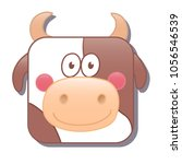 cute square cow or bull. vector ...