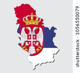 map of serbia with flag  vector ... | Shutterstock .eps vector #1056550079