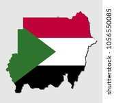 map of sudan with flag  vector... | Shutterstock .eps vector #1056550085