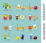 funny best friends healthy and... | Shutterstock .eps vector #1056563147