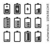 battery icons set | Shutterstock .eps vector #1056581345