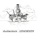 semi sub rig sketch | Shutterstock .eps vector #1056585059