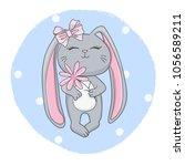cute cartoon rabbit girl with...   Shutterstock .eps vector #1056589211