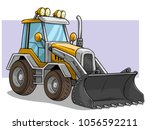cartoon yellow wheel front... | Shutterstock .eps vector #1056592211