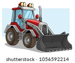 cartoon red wheel front loader... | Shutterstock .eps vector #1056592214