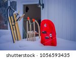outdoor view of skis of dog... | Shutterstock . vector #1056593435