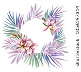 frame with orchids. hand draw... | Shutterstock . vector #1056597314