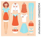 lady. fashion set. vector... | Shutterstock .eps vector #1056602954