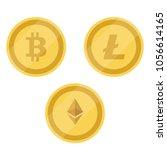 bitcoin  litecoin and ethereum ... | Shutterstock .eps vector #1056614165