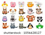 vector big set cute cartoon... | Shutterstock .eps vector #1056628127
