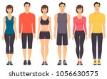 couples in sportswear. young... | Shutterstock .eps vector #1056630575