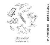 ecuador hand drawn doodle set.... | Shutterstock .eps vector #1056631829