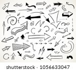 hand drawn arrows set.... | Shutterstock .eps vector #1056633047
