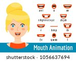 phoneme mouth shapes collection ... | Shutterstock .eps vector #1056637694