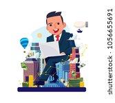 businessman working by laptop... | Shutterstock .eps vector #1056655691