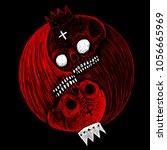 yin yang symbol with skulls of... | Shutterstock . vector #1056665969