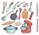 crockery and kitchen appliances ... | Shutterstock .eps vector #1056667571