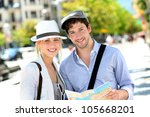 trendy young couple in town... | Shutterstock . vector #105668201