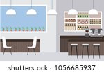 interiores workspace coffee... | Shutterstock .eps vector #1056685937