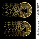 set of crypto currency golden... | Shutterstock .eps vector #1056688049