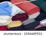 rolls wool fabric | Shutterstock . vector #1056689531