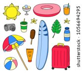 set of hand drawn colored... | Shutterstock .eps vector #1056694295