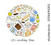 hand drawn colored cooking ... | Shutterstock .eps vector #1056694301