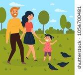 Happy Family Walks Outdoors An...