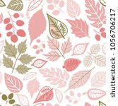 seamless pattern with leaf.... | Shutterstock .eps vector #1056706217