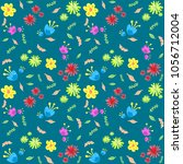 multicolored differente flowers ... | Shutterstock .eps vector #1056712004