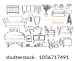 furniture collection. vector... | Shutterstock .eps vector #1056717491