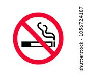 red prohibition no smoking sign.... | Shutterstock .eps vector #1056724187