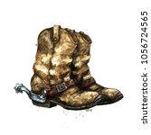 pair of cowboy boots.... | Shutterstock . vector #1056724565