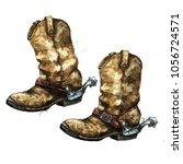 pair of cowboy boots.... | Shutterstock . vector #1056724571