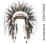 war bonnet. watercolor... | Shutterstock . vector #1056724601