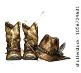 cowboy boots and hat.... | Shutterstock . vector #1056724631