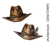 cowboy hat. watercolor... | Shutterstock . vector #1056724895