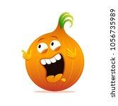 happy onion cartoon funny... | Shutterstock .eps vector #1056735989