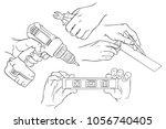 hands using tools | Shutterstock .eps vector #1056740405