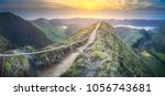 mountain landscape with hiking... | Shutterstock . vector #1056743681