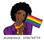 smiling afro american woman... | Shutterstock .eps vector #1056744719