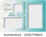 template for photo collage in... | Shutterstock .eps vector #1056744824