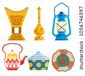 old traditional heritage icons in Arab gulf countries ( United Arab Emirates UAE  Saudi Arabia , Qatar  Bahrain , Kuwait  and Oman )  Ramadan kareem isolated vector illustration