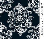 vector black and white flower... | Shutterstock .eps vector #1056748889