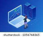 isometric businesswomen trading ... | Shutterstock .eps vector #1056768365