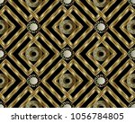 greek key meander gold 3d... | Shutterstock .eps vector #1056784805
