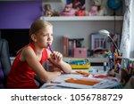 portrait of cute schoolgirl...   Shutterstock . vector #1056788729