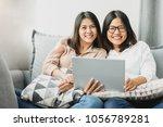 two happy asian women best... | Shutterstock . vector #1056789281